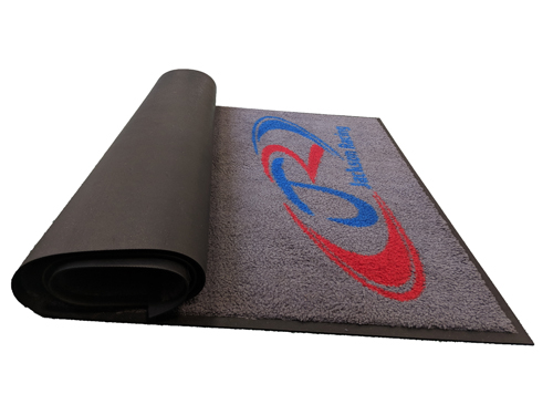 Logo Mat rolled up side view